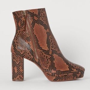 H&M Snakeskin Print Ankle Boots